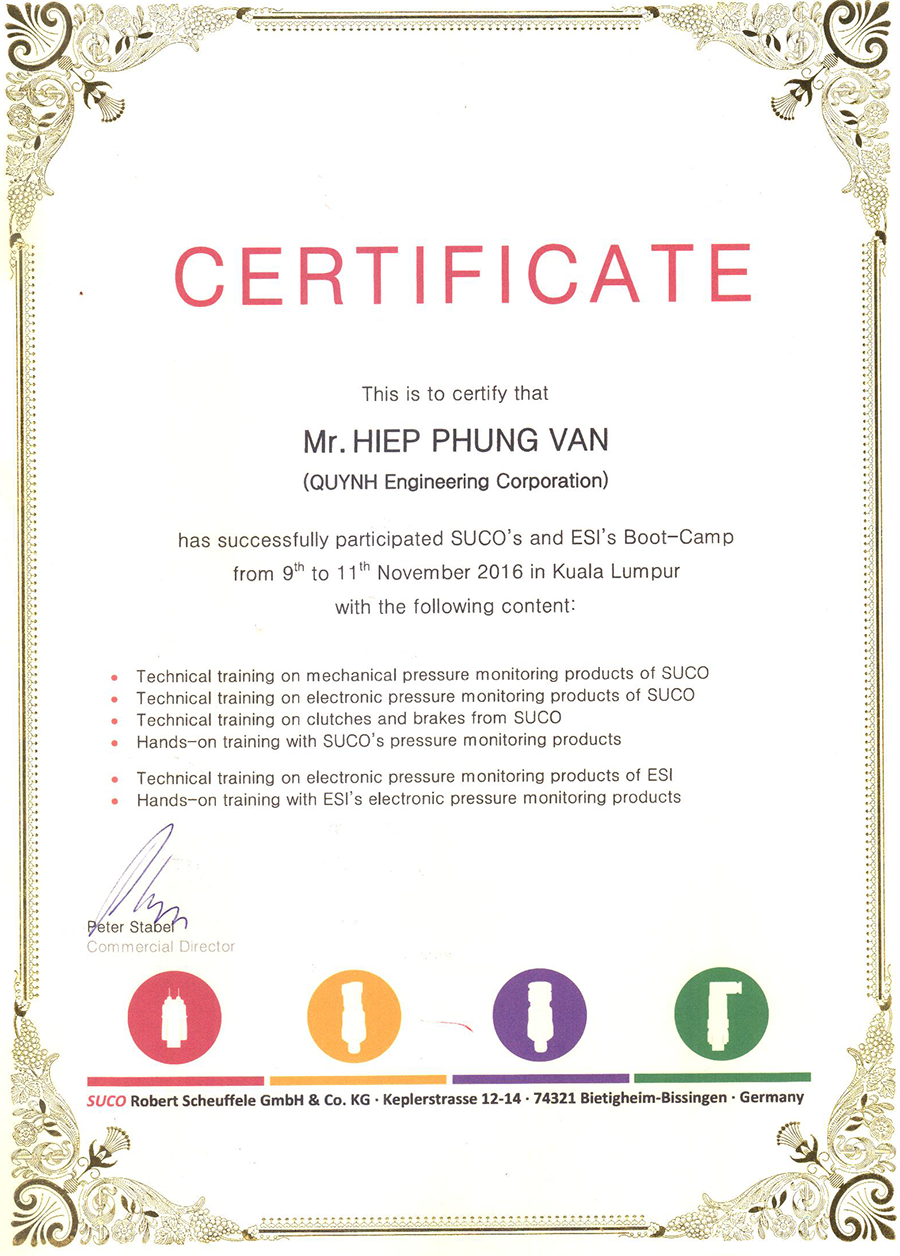 Suco certificate Quynh Engineering Corp Mr Hiep