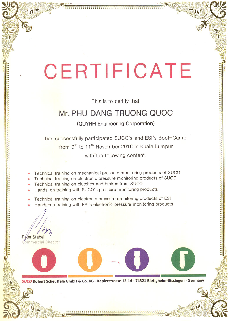 Suco certificate Quynh Engineering Corp Mr Phu